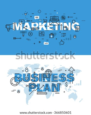 Set of modern vector illustration concepts of words marketing and business plan. Thin line flat design banners for website and mobile website, easy to use and highly customizable. - stock vector