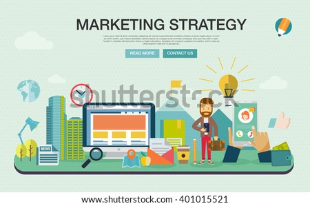 Set of modern vector illustration concepts of words strategy and marketing. Flat design banners for website and mobile website, easy to use and highly customizable. Infographics elements. - stock vector