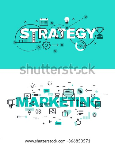 Set of modern vector illustration concepts of words strategy and marketing. Thin line flat design banners for website and mobile website, easy to use and highly customizable. - stock vector