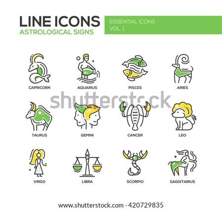 Set of modern vector line design icons and pictograms of zodiac signs. Capricorn, aquarius, pisces, aries, taurus, gemini, cancer, leo, saggitarius, virgo - stock vector