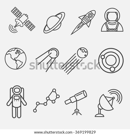 Set of modern vector outline contour space  icons. Astronautics  illustration. Outline space icons. Vector  contour astronautics icons. Icons of astronaut, satellite, planets, constellations, rocket - stock vector