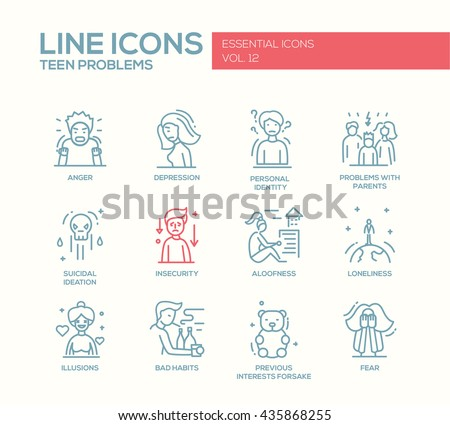 Set of modern vector plain line design icons and pictograms of teenager problems. Anger, depression, personal identity, problems with parents, insecurity, aloofness, loneliness, illusions, bad habits - stock vector