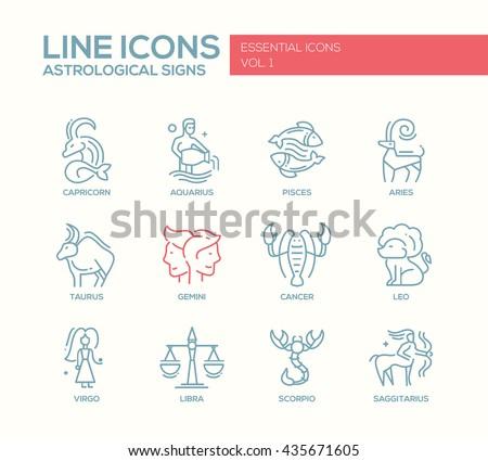 Set of modern vector plain line design icons and pictograms of 12 zodiac signs. Capricorn, aquarius, pisces, aries, taurus, gemini, cancer, leo, sagittarius, virgo - stock vector