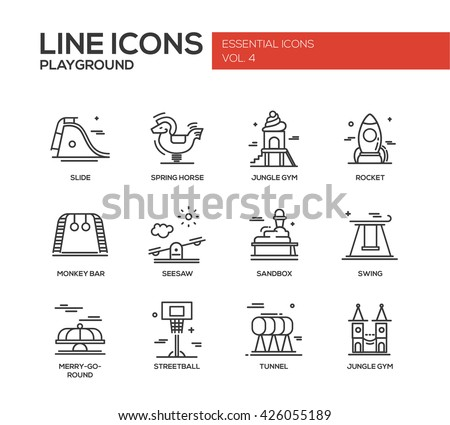 Set of modern vector simple line design icons and pictograms of children playground. Slide, spring horse, jungle gym, rocket, monkey bar, seesaw, sandbox, swing, merry-go-round, streetball, tunnel - stock vector