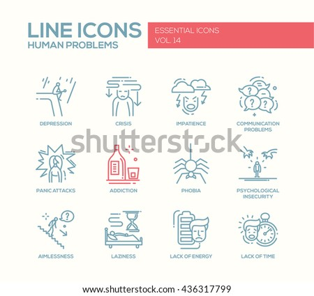Set of modern vector simple line design icons and pictograms of common human psychological problems. Crisis, impatience, depression, insecurity, addictions, aimlessness, laziness, energy, time lack - stock vector