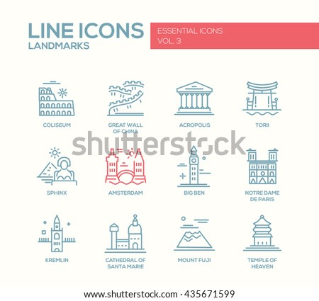 Set of modern vector simple plain line design icons and pictograms of world famous landmarks. Coliseum, Sphinx, Torii, Great Wall, Santa Marie Cathedral, Big Ben, Notre Dame, Fuji, Amsterdam - stock vector