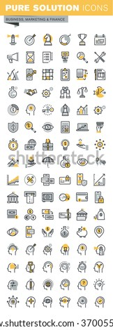 Set of modern vector thin line business and finance icons. Modern vector logo pictogram and infographic design elements collection. Outline icon collection for website and app design. - stock vector
