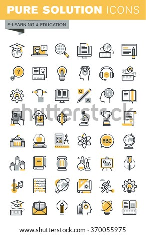 Set of modern vector thin line education icons. Modern vector logo pictogram and infographic design elements collection. Outline icon collection for website and app design. - stock vector