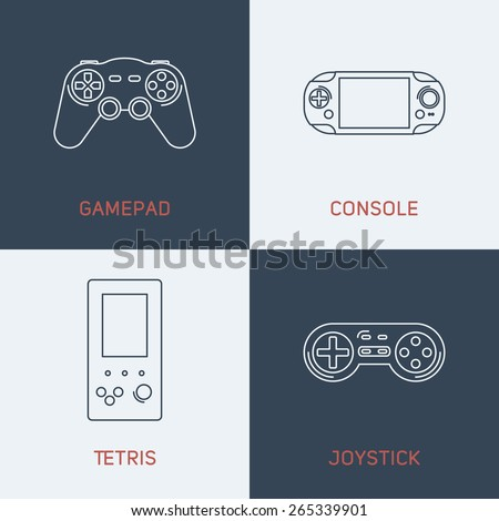 Set of Modern Vector Thin Line Icons. Game pad, Console, Tetris, Joystick - stock vector