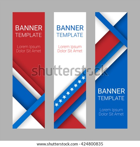 Set of modern vector vertical banners, page headers with stripes and stars in the colors of the American flag. Material design banners for Presidents day, USA Independence day, Memorial Day, Flag Day - stock vector