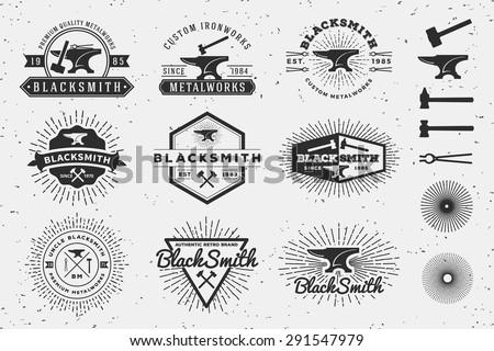 Set of Modern Vintage Blacksmith and Metalworks insignia logotype Template Design with anvil, hammer, star burst. Vector illustration - stock vector
