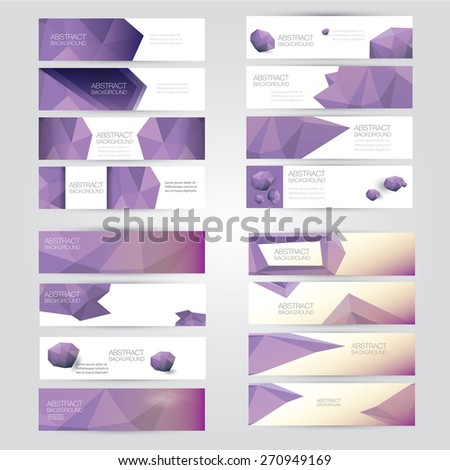 set of modern violet vector banners with polygonal background - stock vector