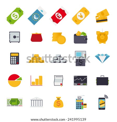 Set of 25 money and finance related vector icons, flat design - stock vector