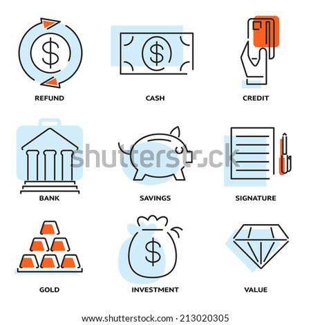 Set of money and value flat line vector icons depicting refund  cash  credit  bank  savings  signature  gold  investment and value with light blue overlay - stock vector