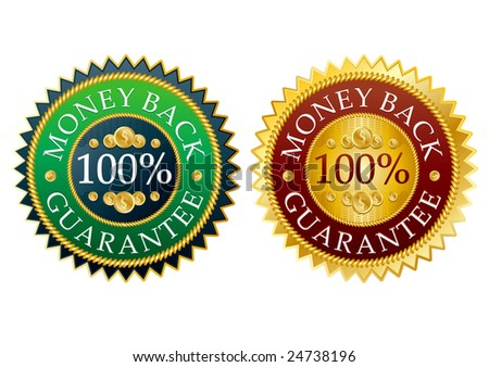 set of money back high detailed stickers - stock vector