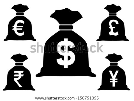 Set of Money Bags with currency symbols - stock vector