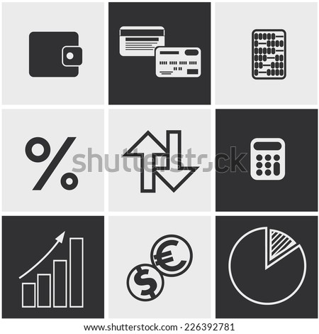 Set of money, finance, banking icons black and white color - stock vector