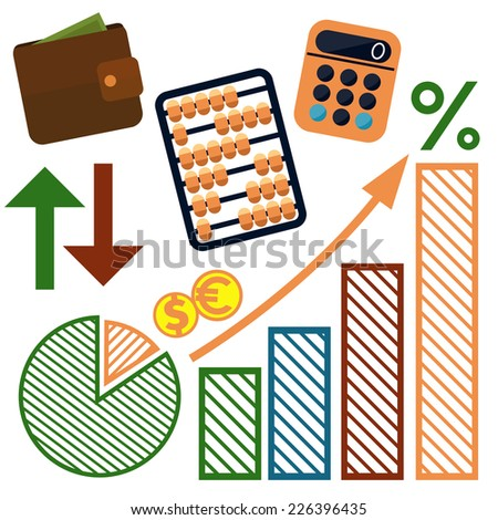Set of money, finance, banking icons cartoon design style - stock vector
