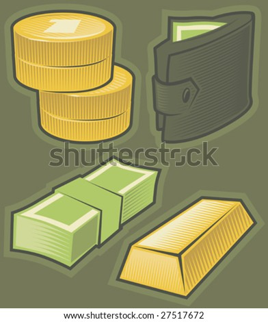 Set of money icons. Hatched in style of engraving. Vector illustration. - stock vector