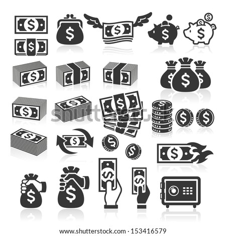 Set of money icons. Vector illustration - stock vector