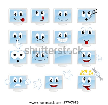 Set of monitors-emoticons. Vector illustration, isolated on a white.