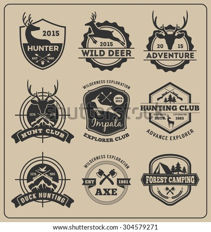 Set of monochrome animal hunting and adventure badge logo design for emblem logo, label design, insignia, sticker || Vector illustration resize able and all types use free font - stock vector