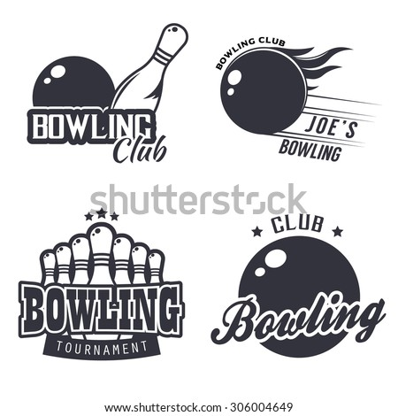 Set of monochrome bowling themed labels (bowling club, tournament), badges and design templates. Vector illustration in vintage style - stock vector