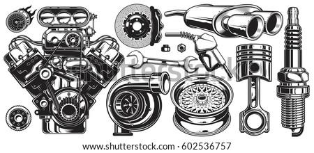 Set monochrome car repair service elements stock vector for Motor vehicle repair license