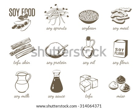Set of monochrome cartoon soy food illustrations - soy milk, soy sauce, soy meat, tofu, miso and so on. Vector illustration, isolated on transparent background, eps 10. - stock vector