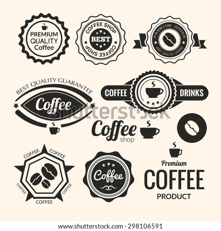Set of monochrome coffee labels and badges. Retro style coffee vintage