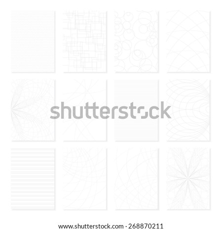 Set of 12 monochrome elegant patterns for business document or paper