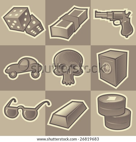 Set of monochrome gangsta retro icons. Hatched in style of engraving. Vector illustration. - stock vector