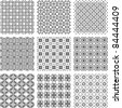 Set of monochrome geometrical patterns background texture. vector - stock vector