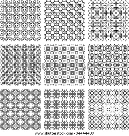 Set of monochrome geometrical patterns background texture. vector