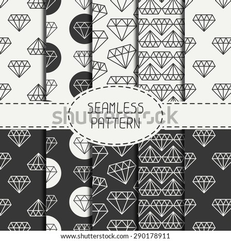 Set of monochrome hipster fashion geometric seamless pattern with diamond. Wrapping paper. Paper for scrapbook. Vector background. Tiling. Stylish graphic texture for your design. - stock vector