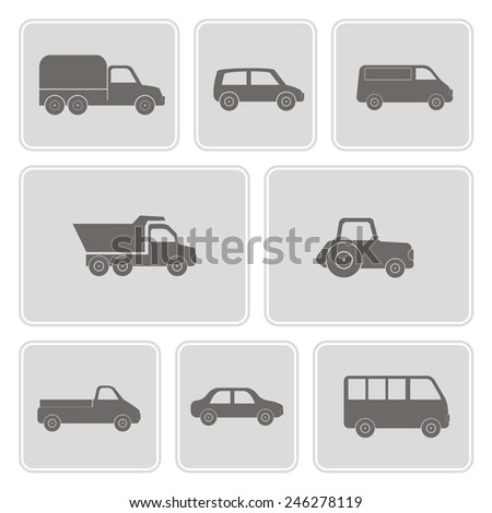 set of monochrome icons with car icons for your design  - stock vector