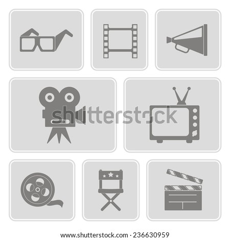 set of monochrome icons with cinema symbols for your design - stock vector