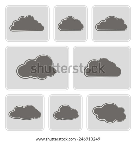set of monochrome icons with clouds for your design