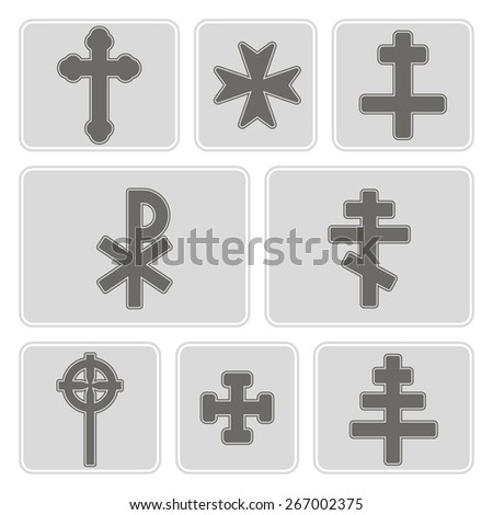 set of monochrome icons with different crosses for your design - stock vector