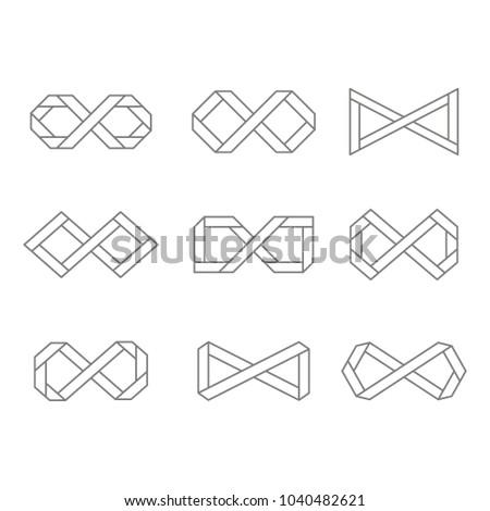 Set Monochrome Icons Infinity Symbols Your Stock Vector 1040482621
