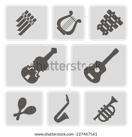 set of monochrome icons with musical instruments for your design - stock vector