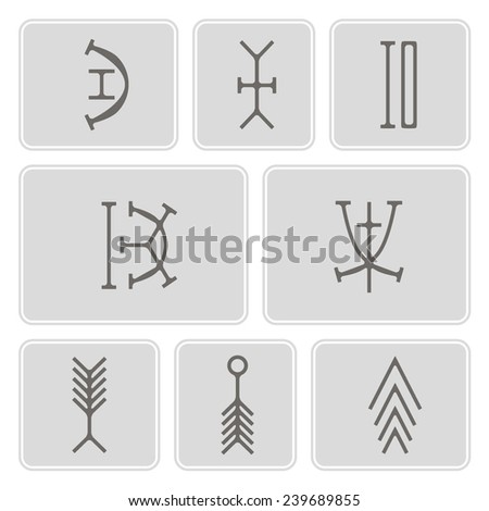 set of monochrome icons with nsibidi symbols for your design (hatred, divorce, eze, child, war, tree, root)