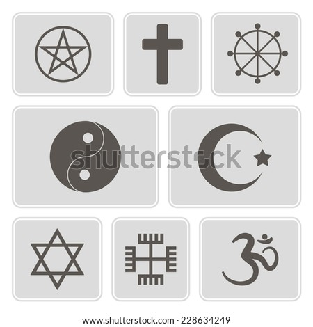set of monochrome icons with  religious symbols for your design - stock vector
