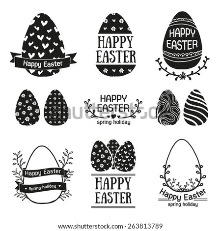 Set of monochrome logo templates, icons, labels, signs for a happy Easter. Silhouette egg with simple patterns. Floral elements. Vector. - stock vector