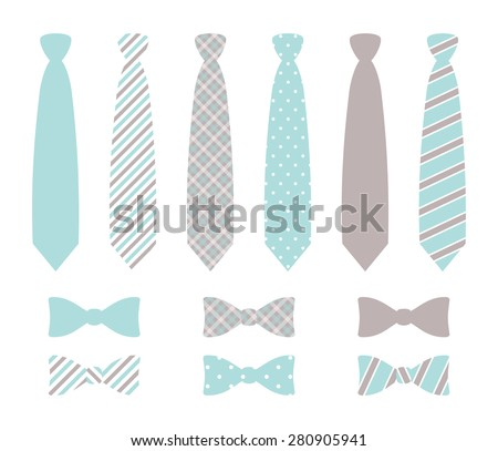 Set of monochrome, plaid, checkered, diagonal lined and polka dot silk ties and bow tie pattern template. Pastel gray and blue color design. vector art image illustration, isolated on white background - stock vector