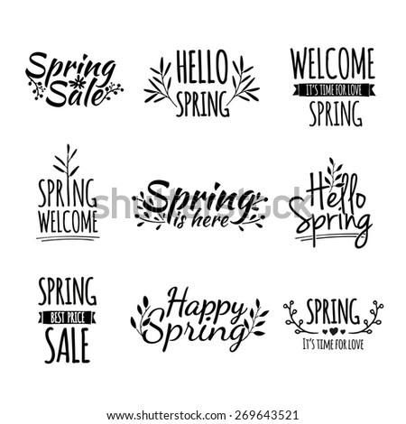 Set of monochrome retro vintage logos, icons, stickers with the text of the spring and floral elements. Vector. - stock vector