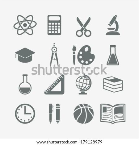 set of monochrome school icons - stock vector
