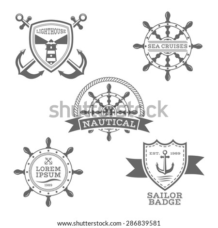 Set of monochrome vector nautical emblems on white background - stock vector