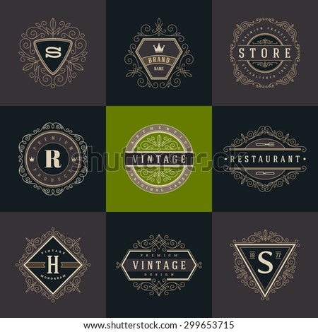 Set of monogram logo template with flourishes calligraphic elegant ornament elements. Identity design with letter for cafe, shop, store, restaurant, boutique, hotel, heraldic, fashion and etc. - stock vector