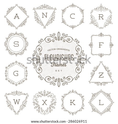 Set of monogram logo template with flourishes calligraphic elegant ornament frames - Vector illustration - stock vector